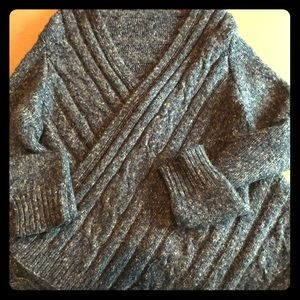 Navy wrap around poncho sweater